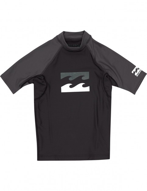 Billabong Team Waves Short Sleeve Rash Vest in Black