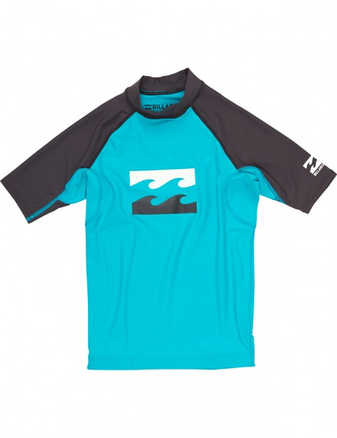 Billabong Team Waves Short Sleeve Rash Vest in Aqua