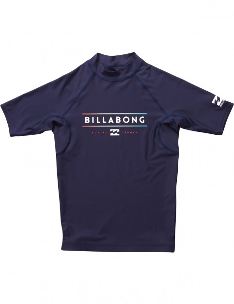 Billabong Unity Short Sleeve Rash Vest in Navy