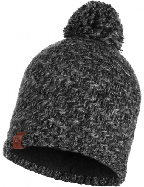 Buff Agna Knitted Bobble Hat in Black