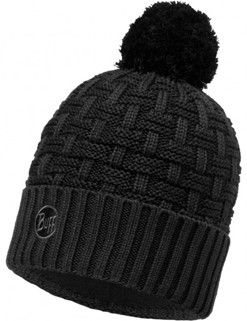 Buff Airon Knitted Bobble Hat in Black