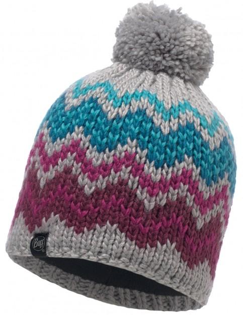 Buff Danke Knitted Bobble Hat in Light Grey