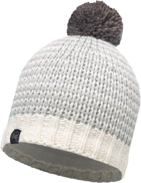 Buff Dorn Cru Knitted Bobble Hat in White