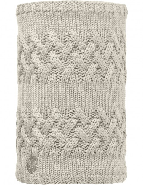 Buff Savva Knitted and Polar Neck Warmer in Cream/Grey Vigore