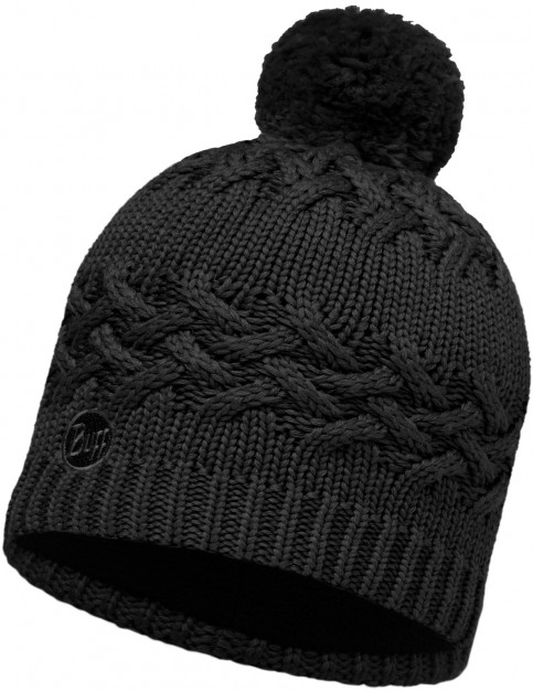 Buff Savva Knitted Bobble Hat in Black Hat