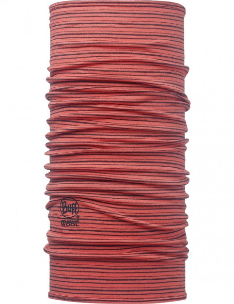 Buff Wool Buff Neck Warmer in Yarn Dyed Stripes Coral