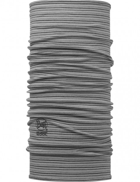 Buff Wool Buff Neck Warmer in Yarn Dyed Stripes Light Grey