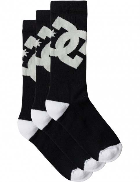 Black DC DC Crew 3 Pk Socks