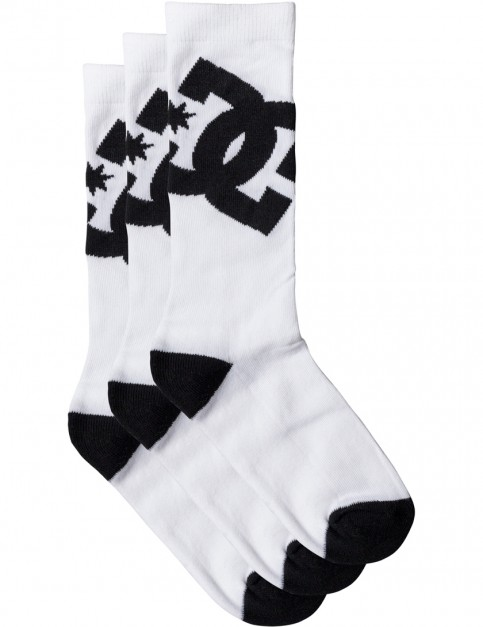 White DC DC Crew 3 Pk Socks