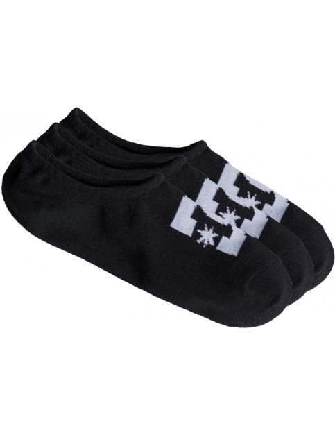 Black DC DC No Show 3 Pk Socks