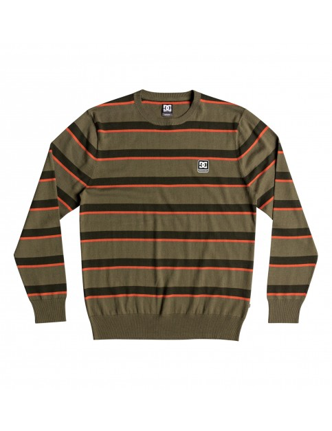 DC Sabotage Stripe Jumper in Burnt Olive