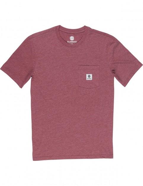 Element Basic Pocket Label Short Sleeve T-Shirt in Oxblood Heather