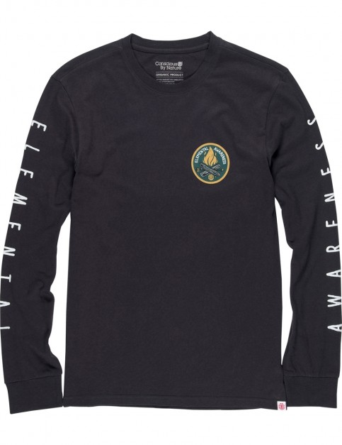 Element EA Logo Long Sleeve T-Shirt in Off Black