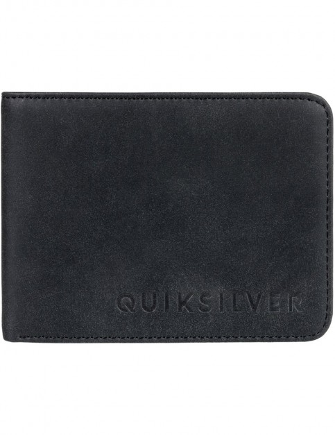 Quiksilver Slim Vintage II Faux Leather Wallet in Black