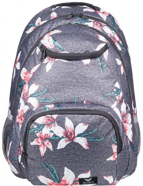 Roxy Shadow Swell Backpack in Charcoal Heather Flower Field