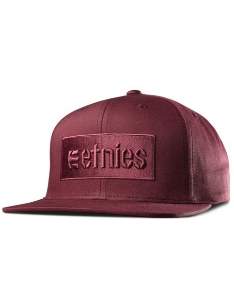 Etnies Corp Box Snapback Cap in Burgundy