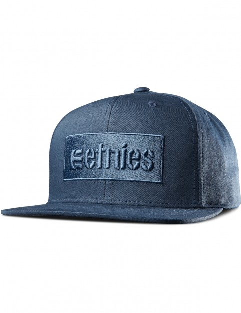 Etnies Corp Box Snapback Cap in Dark Navy