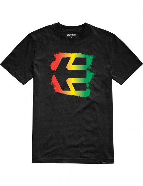 Etnies Icon Sprayed Short Sleeve T-Shirt in Black