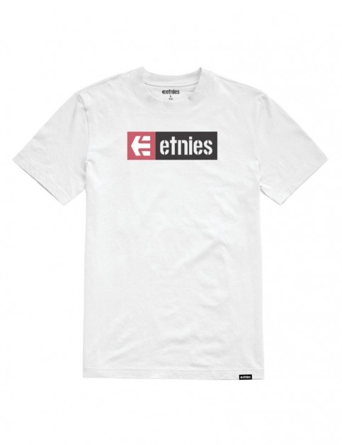 Etnies New Box Short Sleeve T-Shirt in White/Pink