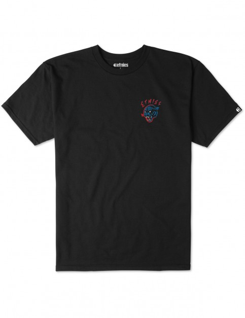 Black Etnies Retro Panther Short Sleeve T-Shirt