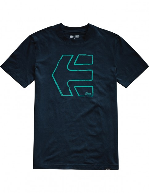 Etnies Sketch Outline Short Sleeve T-Shirt in Navy
