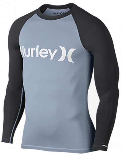 Hurley One And Only Long Sleeve Rash Vest in Wolf Grey