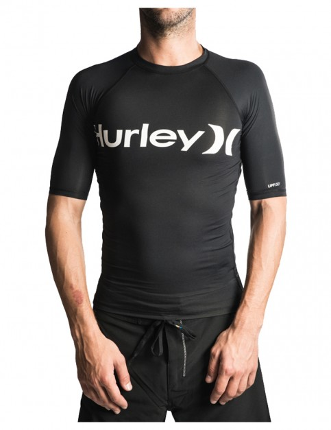 Black Hurley One And Only Short Sleeve Rash Vest
