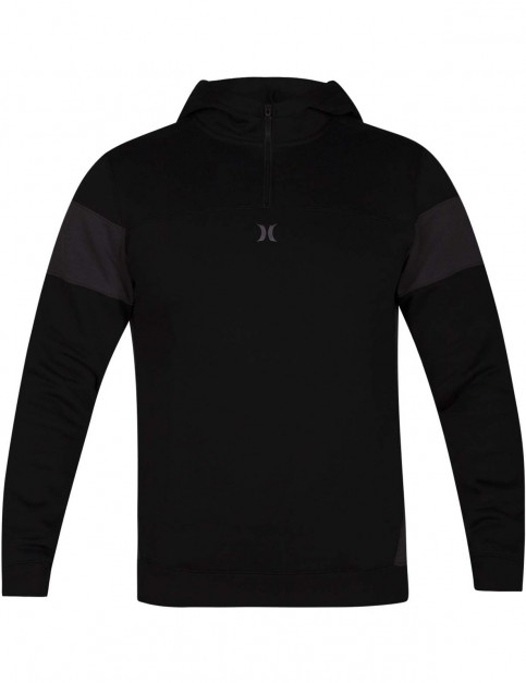 Hurley Surf Check Quarter Zip Pullover Hoody in Black Heather