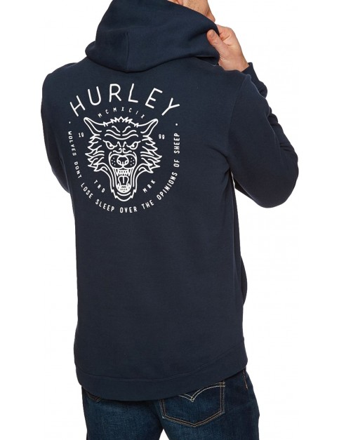 Hurley Surf Check Wolf Pullover Hoody in Obsidian