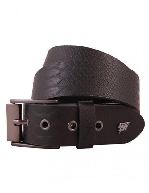 Lowlife Adder Leather Belt in Black Snakeskin