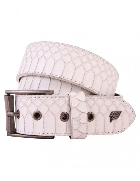 Lowlife Adder Leather Belt in White Snakeskin