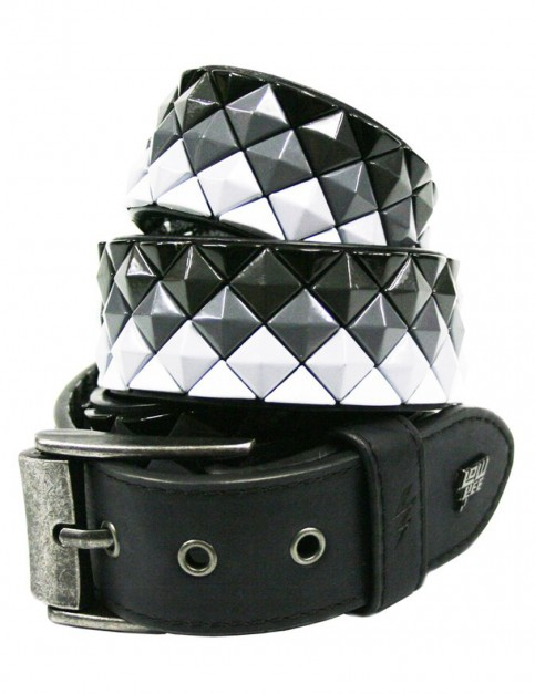 Lowlife Armor Leather Belt in Black and White