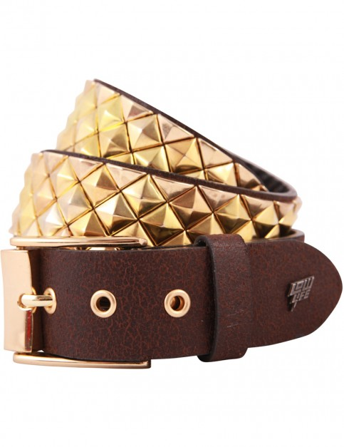 Lowlife Armor Leather Belt in Brown and Gold