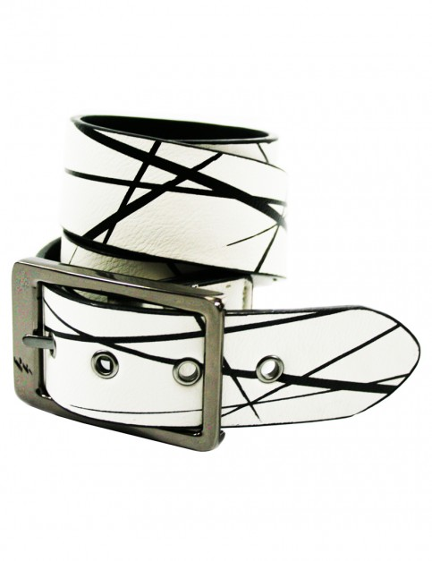 Lowlife Bates Leather Belt in Tex White
