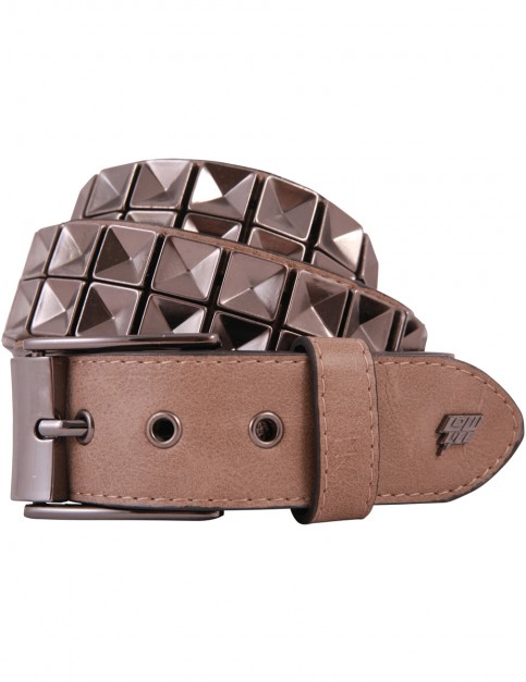 Lowlife Concave Leather Belt in Beige