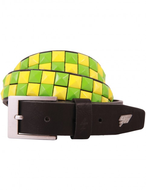 Lowlife Dub Leather Belt in Black Green and Yellow