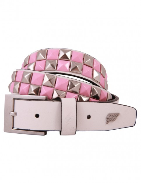 Lowlife Dub Leather Belt in White Pink