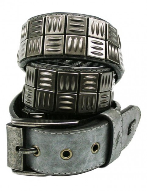 Lowlife Grip Leather Belt in Slate