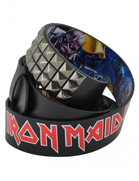 Lowlife Iron Maiden Cover Stud Leather Belt in Black