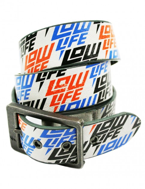 Lowlife Jigsaw Leather Belt in Dirty White