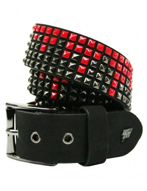 Lowlife Shrink Leather Belt in Black and Red