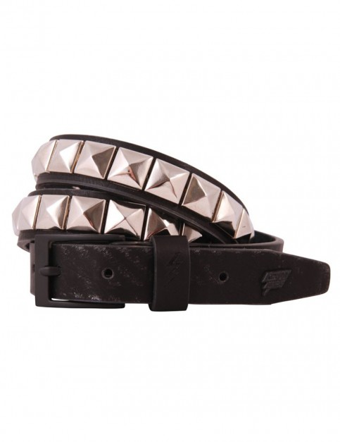 Black and Silver Lowlife Single Stud Faux Leather Belt