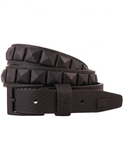 Lowlife Single Stud Leather Belt in Black Snakeskin