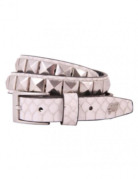 Lowlife Single Stud Leather Belt in White Snakeskin