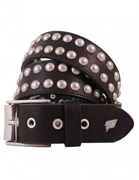 Lowlife Sphere Leather Belt in Black