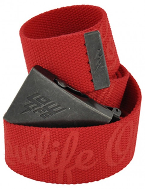 Lowlife Strapped Webbing Belt in Red