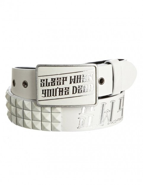Lowlife SWYD Leather Belt in White