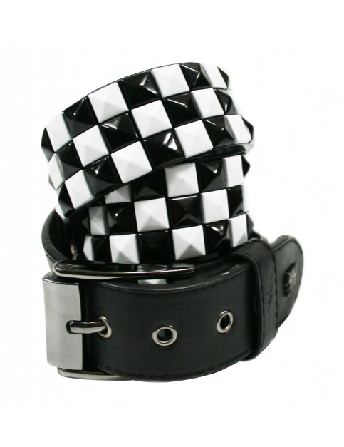 Lowlife Triple S Studded Leather Belt in Black and White