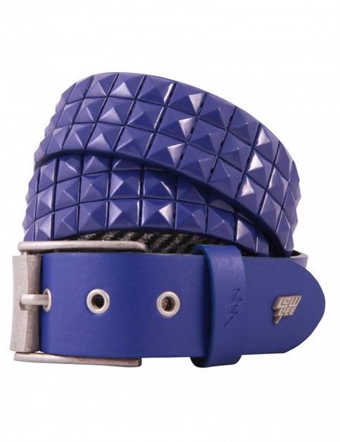 Lowlife Triple S Studded Leather Belt in Royal Blue