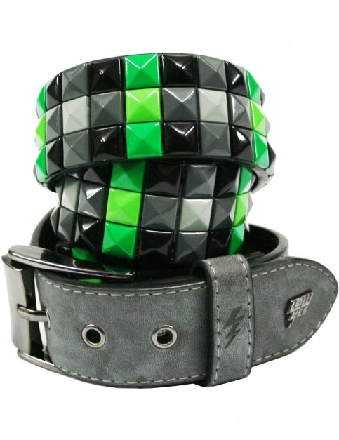Lowlife Triple S Studded Leather Belt in Slate Grey and Green